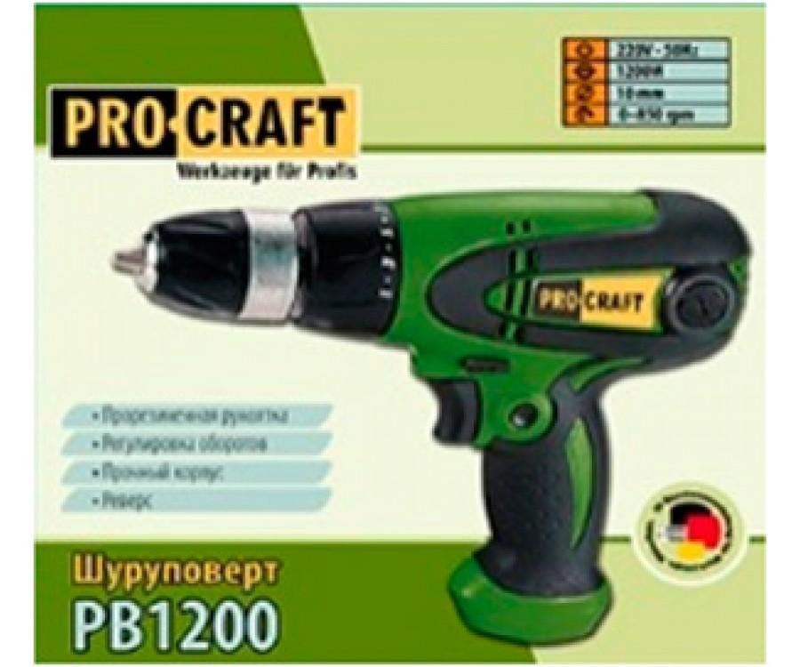 Сетевой шуруповерт ProCraft PB1200 с металл. патроном